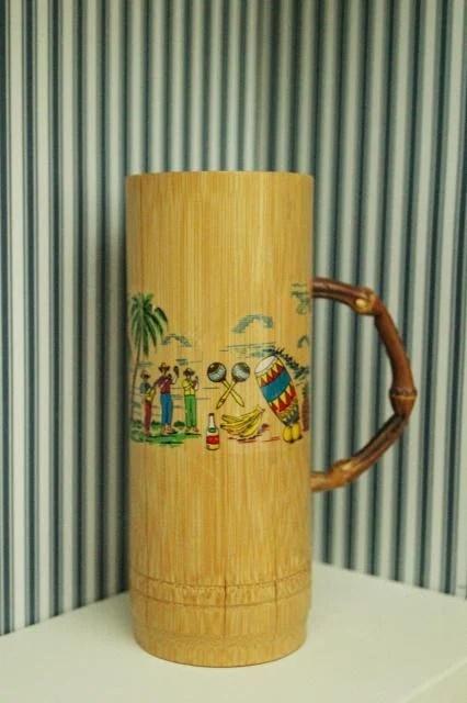 wooden mug details of antique suitcase bookshelf, featured on Remodelaholic.com