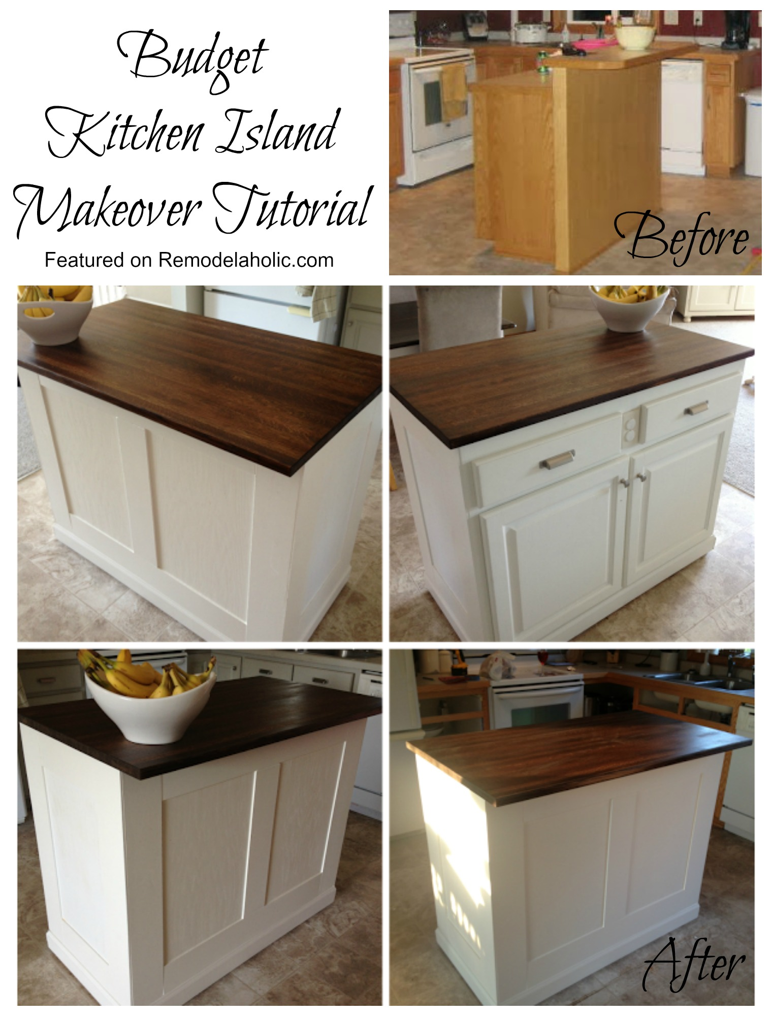 Budget Kitchen Island Makeover Tutorial featured on Remodelaholic & Remodelaholic | Budget-Friendly Board and Batten Kitchen Island Makeover
