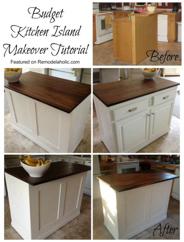 Budget Kitchen Island Makeover Tutorial featured on Remodelaholic