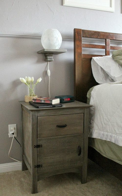 DIY floating bedside lamp shelf over nightstand, Turtles and Tails featured on Remodelaholic.com