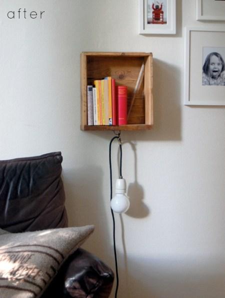 Old drawer to bedside floating shelf with light, Catherine featured on Design Sponge via Remodelaholic