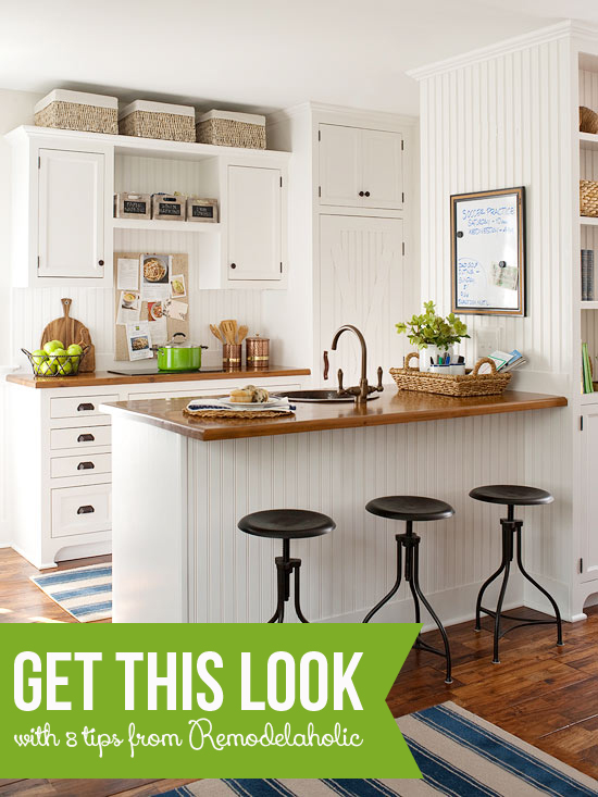 Tips to Get This Look: Warm Wood Tones in a White Kitchen | @Remodelaholic #getthislook #whitekitchen #butcherblock