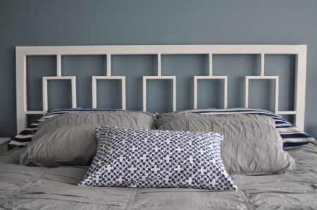 West Elm Knock-Off Window Headboard, Decor and the Dog featured on Remodelaholic.com