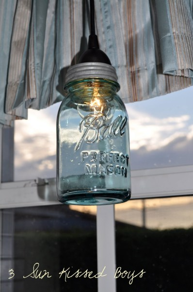 blue tinted mason jar pendant light diy tutorial, 3 Sunkissed Boys featured on Remodelaholic
