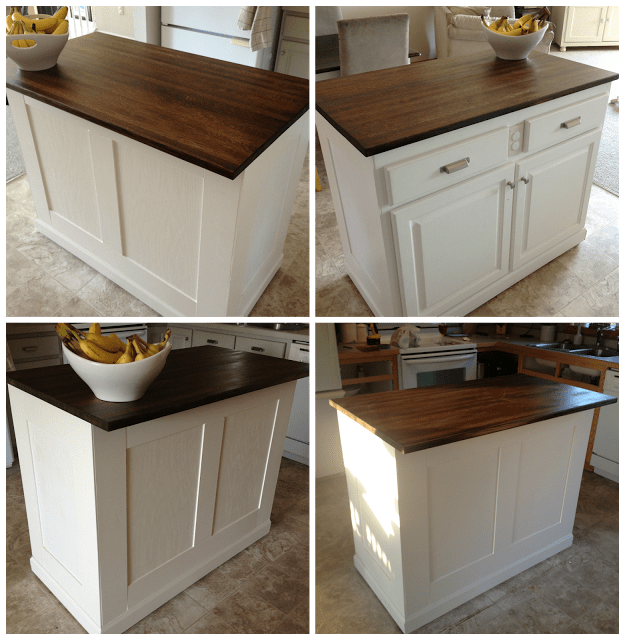 $20 Kitchen Island Makeover | The Serene Swede featured on Remodelaholic.com #butcherblock #board_and_batten #kitchenisland #makeover @Remodelaholic