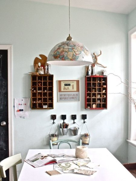 diy globe pendant lamp, Moss Eclectic featured on Apartment Therapy via Remodelaholic