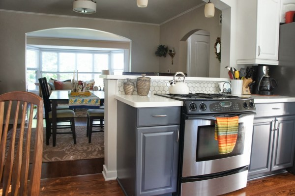gray and white kitchen and dining room, LoveLee Homemaker featured on Remodelaholic