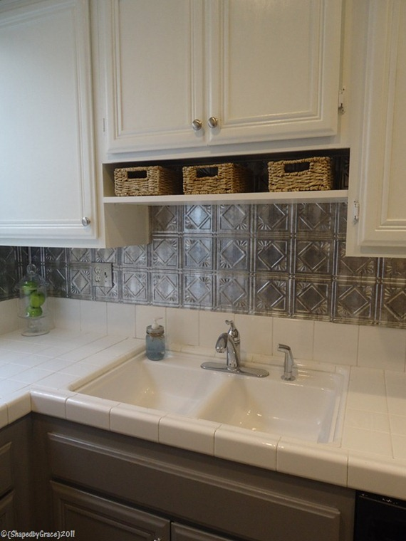 gray and white kitchen with tin tile backsplash, Shaped By Grace featured on Remodelaholic