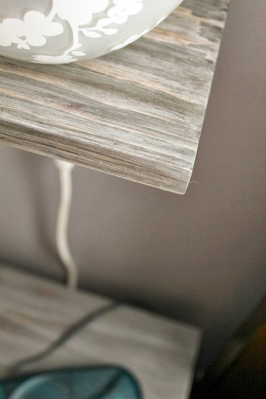 grey weathered barn board finish on floating shelf bedside storage for lamp, Turtles and Tails featured on Remodelaholic.com