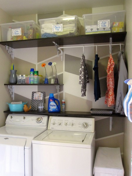 herringbone painted and organized laundry room makeover, Design Build Love on Remodelaholic