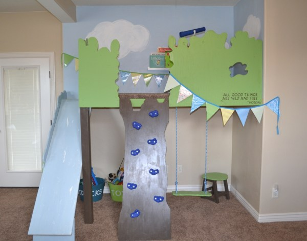 indoor tree house loft with slide and rock climbing wall, I Am Hardware featured on Remodelaholic