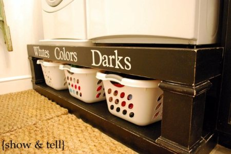 laundry room remodel with storage pedestal for washer and dryer, Show and Tell on Remodelaholic
