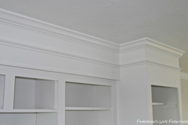 makeover white painted kitchen cabinets with molding, Fisherman's Wife Furniture featured on Remodelaholic.com