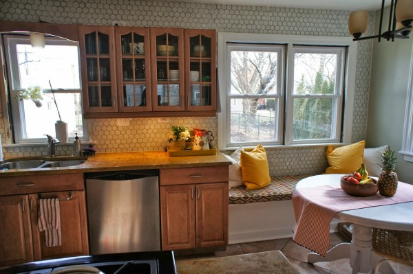 oak cabinets before the gray and white kitchen makeover, LoveLee Homemaker featured on Remodelaholic