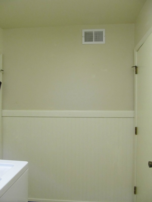 painted beadboard wainscoting in the laundry room makeover, The Pin Junkie featured on Remodelaholic.com