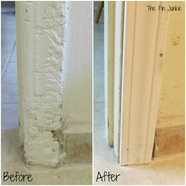 trim before and after - laundry room makeover, , The Pin Junkie featured on Remodelaholic.com