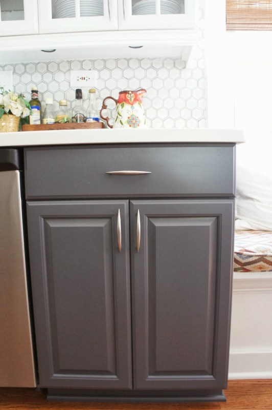 two-tone gray and white painted kitchen cabinets, LoveLee Homemaker featured on Remodelaholic