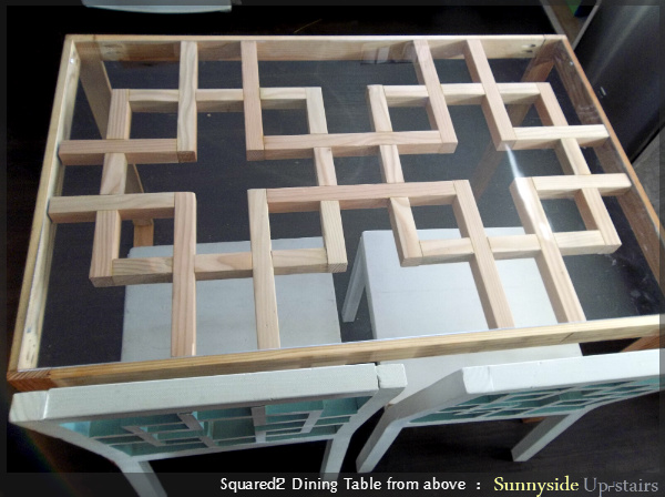 unfinished wood square lattice motif dining table, Sunnyside Upstairs featured on Remodelaholic