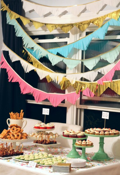 27th birthday party set up with garland confetti color