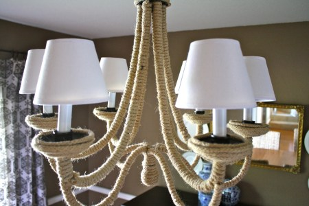 DIY rope chandelier makeover, I Love That featured on Remodelaholic