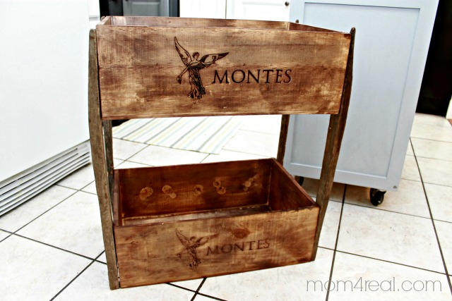 DIY wine crate shelving, Mom4Real featured on Remodelaholic