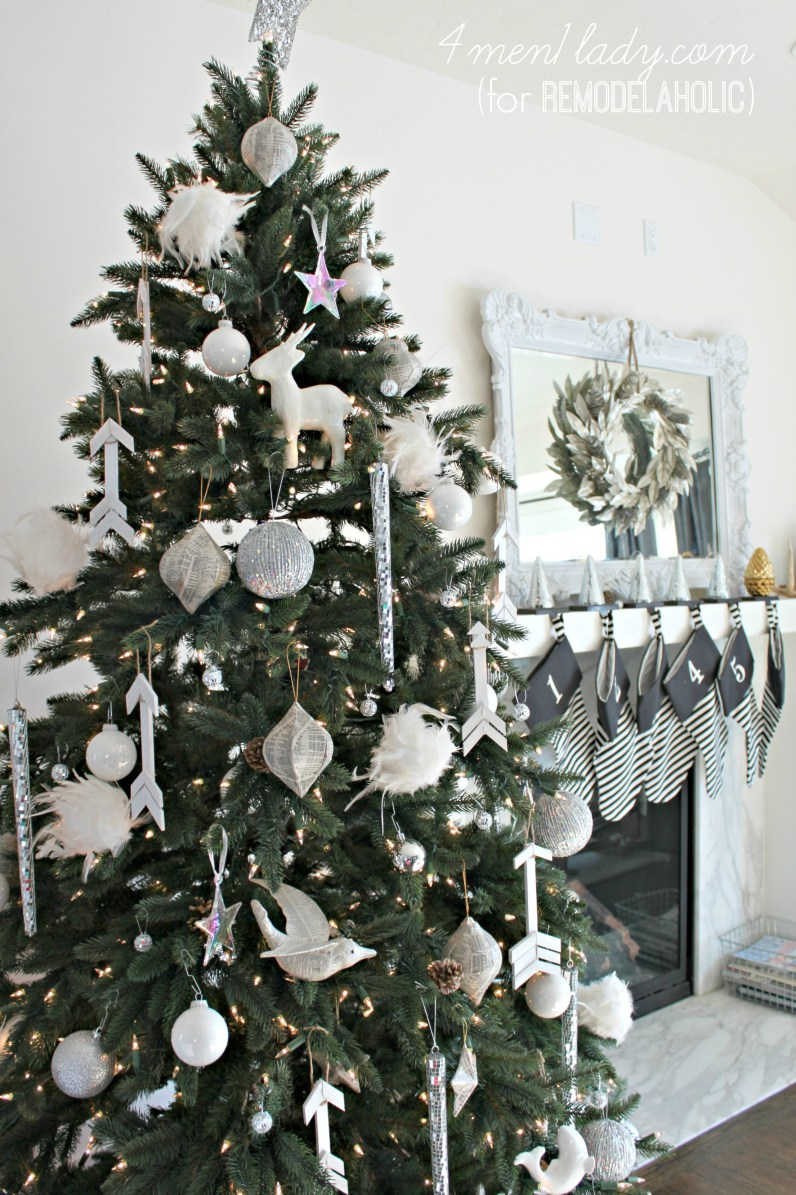 all white Christmas tree with diy wooden arrow ornaments | 4men1lady for Remodelaholic.com