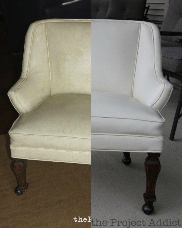 Restore a Leather Chair - Before and After, The Project Addict featured on Remodelaholic