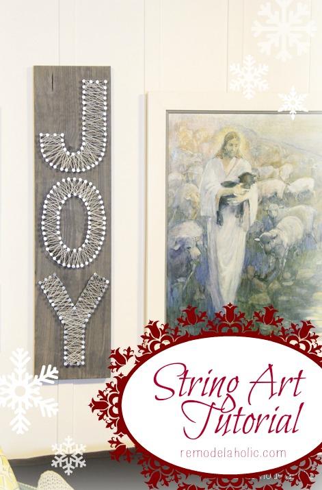 String Art Tutorial Joy Sign Christmas art @remodelaholic #christmas #art