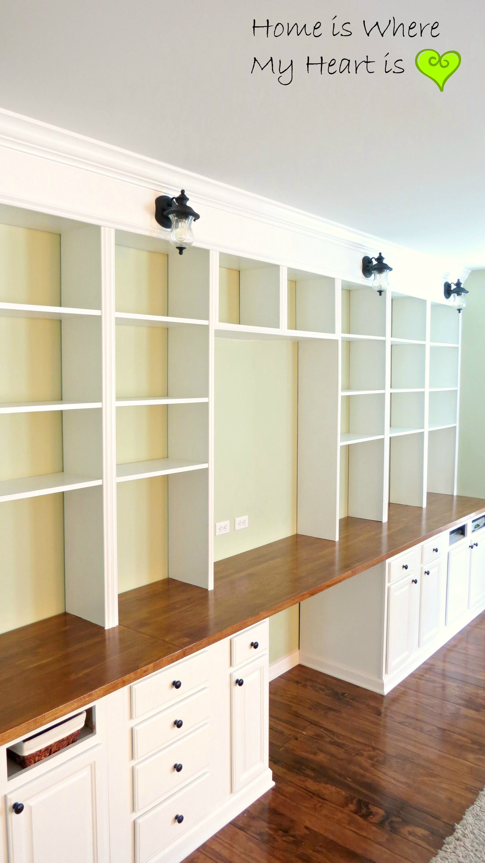 Wall To Wall Built In Desk And Bookcase | Home Is Where My