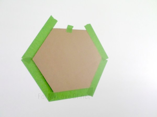 cardboard hexagon stencil for accent wall, For My Love Of featured on Remodelaholic