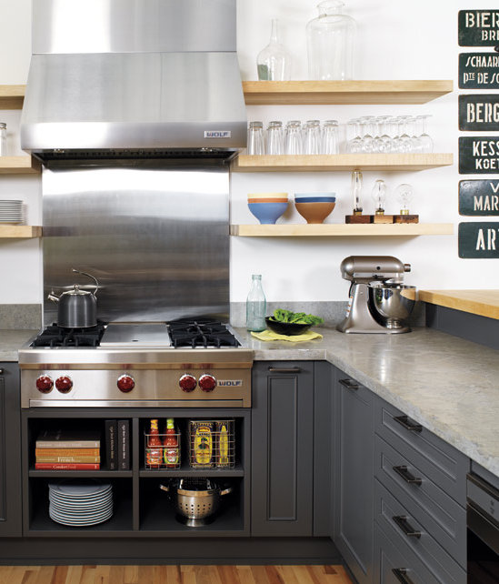 charcoal gray kitchen, Style At Home via Decorpad