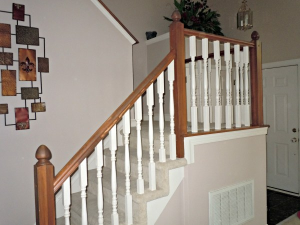 diy oak banister makeover, Semi-Domesticated Mama featured on Remodelaholic