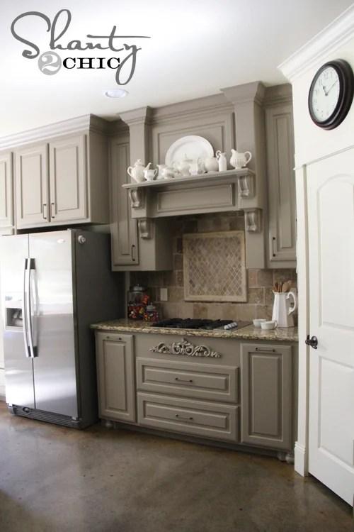 gray kitchen cabinets, Shanty2Chic