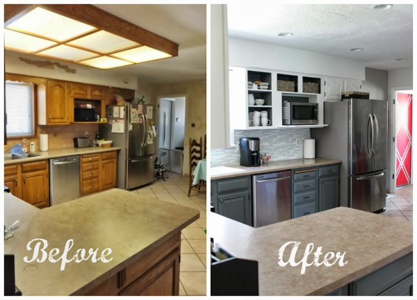 grey and white kitchen makeover before and after, House For Five featured on Remodelaholic