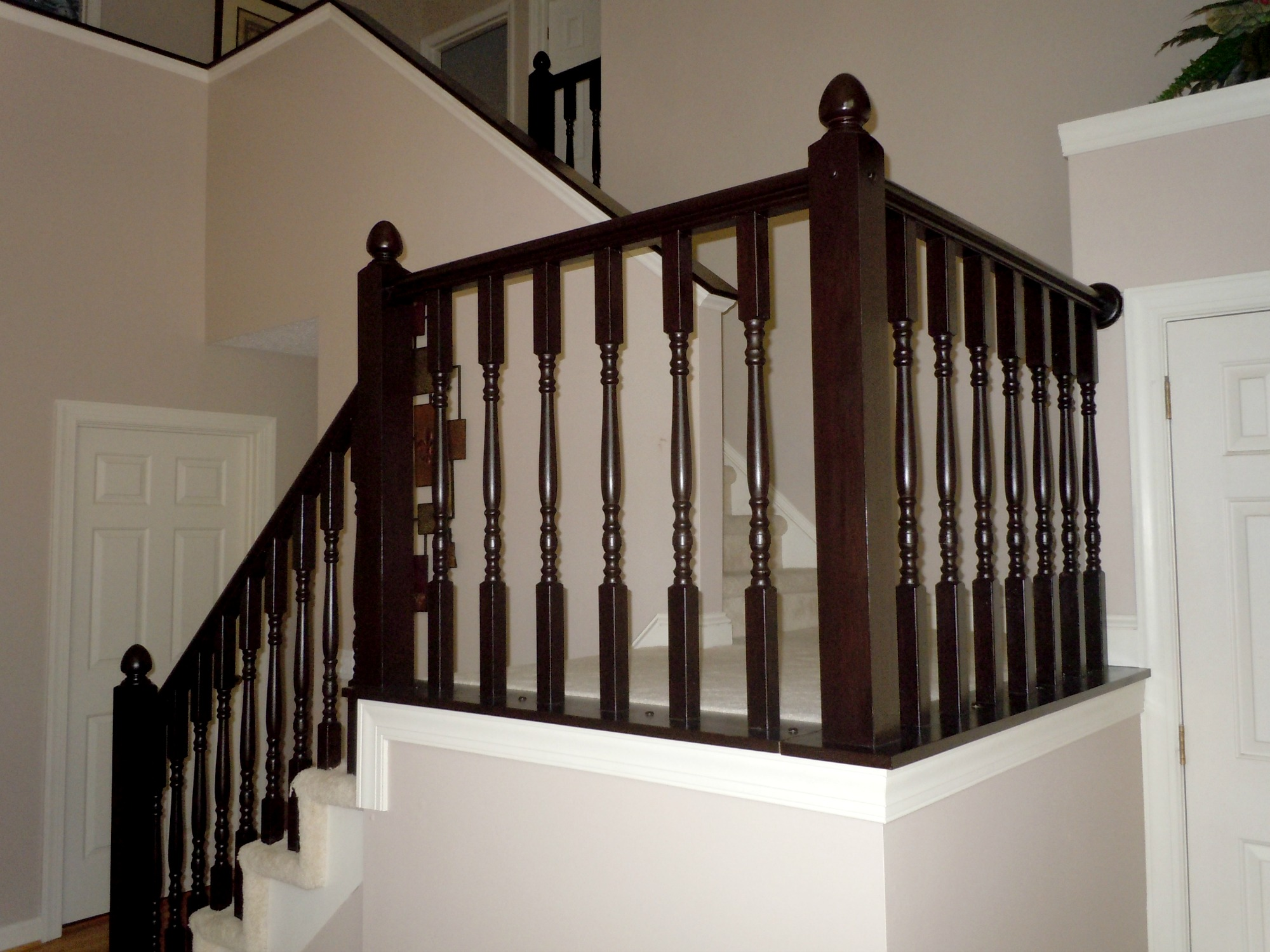 Oak Stair Railing Makeover Using Gel Stain, Semi Domesticated Mama Featured  On Remodelaholic