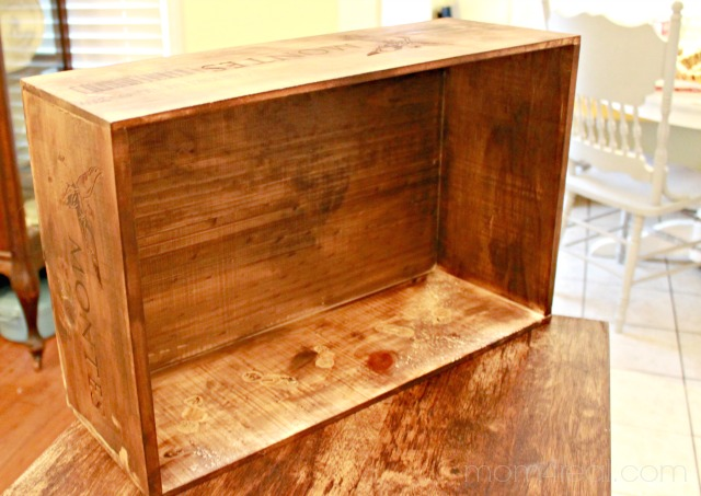 walnut stained wine crate, Mom4Real featured on Remodelaholic