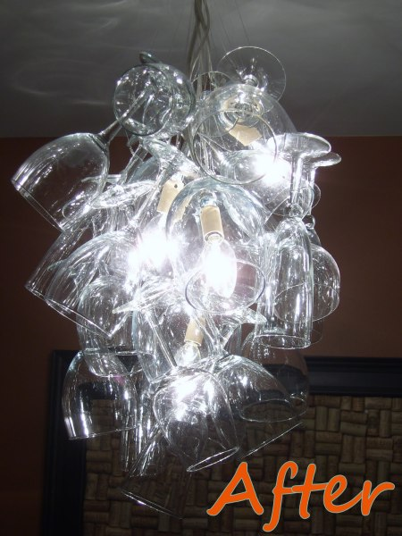 wine glass chandelier DIY, featured on Remodelaholic