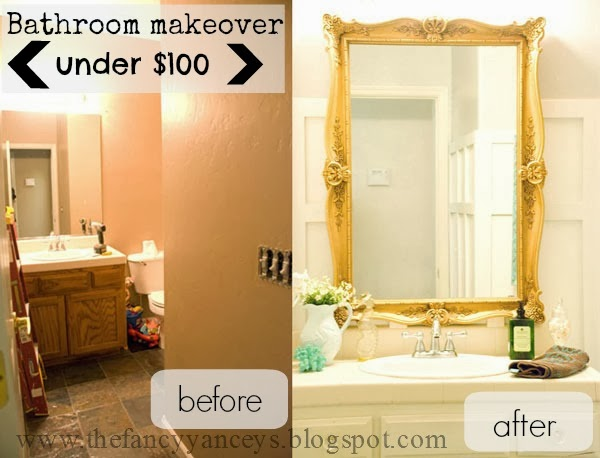 Remodelaholic Chic Budget Bathroom Makeover For Under - Budget bathroom remodel before and after