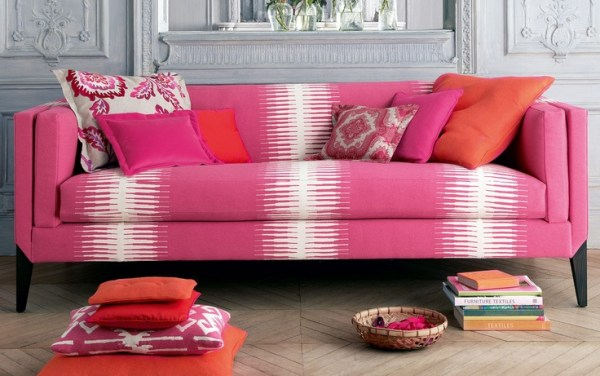 fuchsia sofa and fabrics