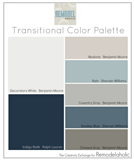 Palette of transitional paint colors that are great for mixing warm and cool tones. Remodelaholic