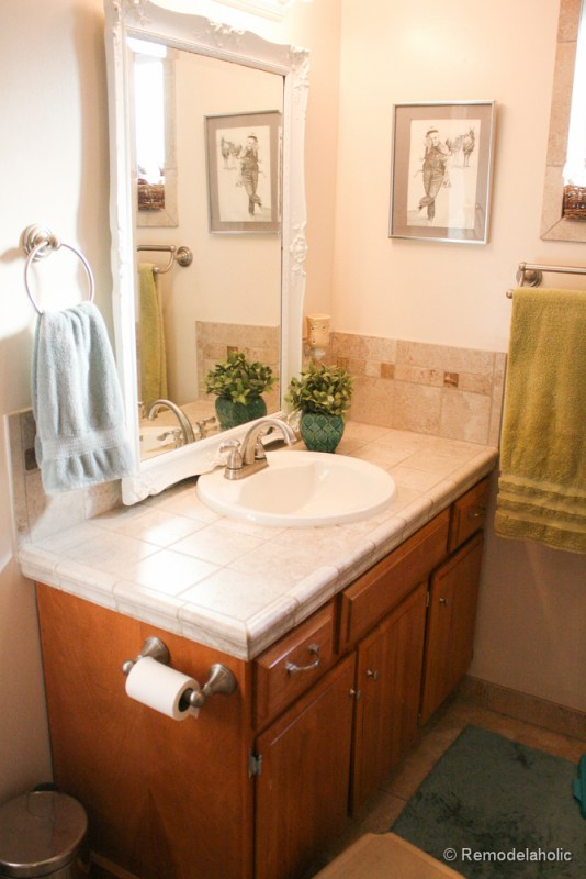 Remodelaholic Updated Bathroom Single Sink Vanity To Double Sink - Bathroom remodel double sink vanity