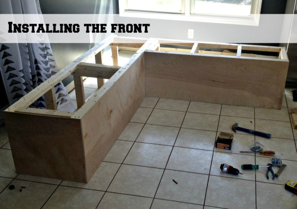 adding a front to the corner banquette bench frames, Pinterior Designer featured on Remodelaholic