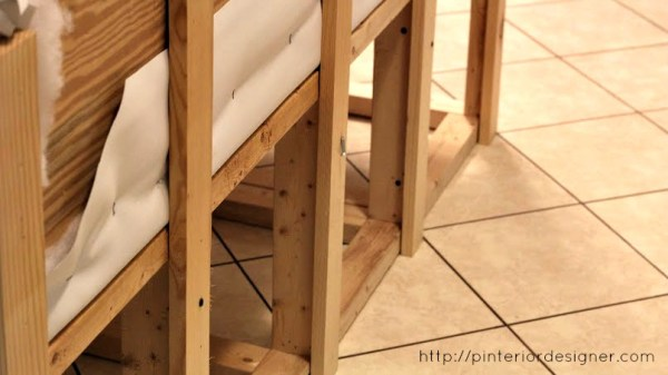 attach headboard backrest to banquette bench with 1x3 boards, Pinterior Designer featured on Remodelaholic