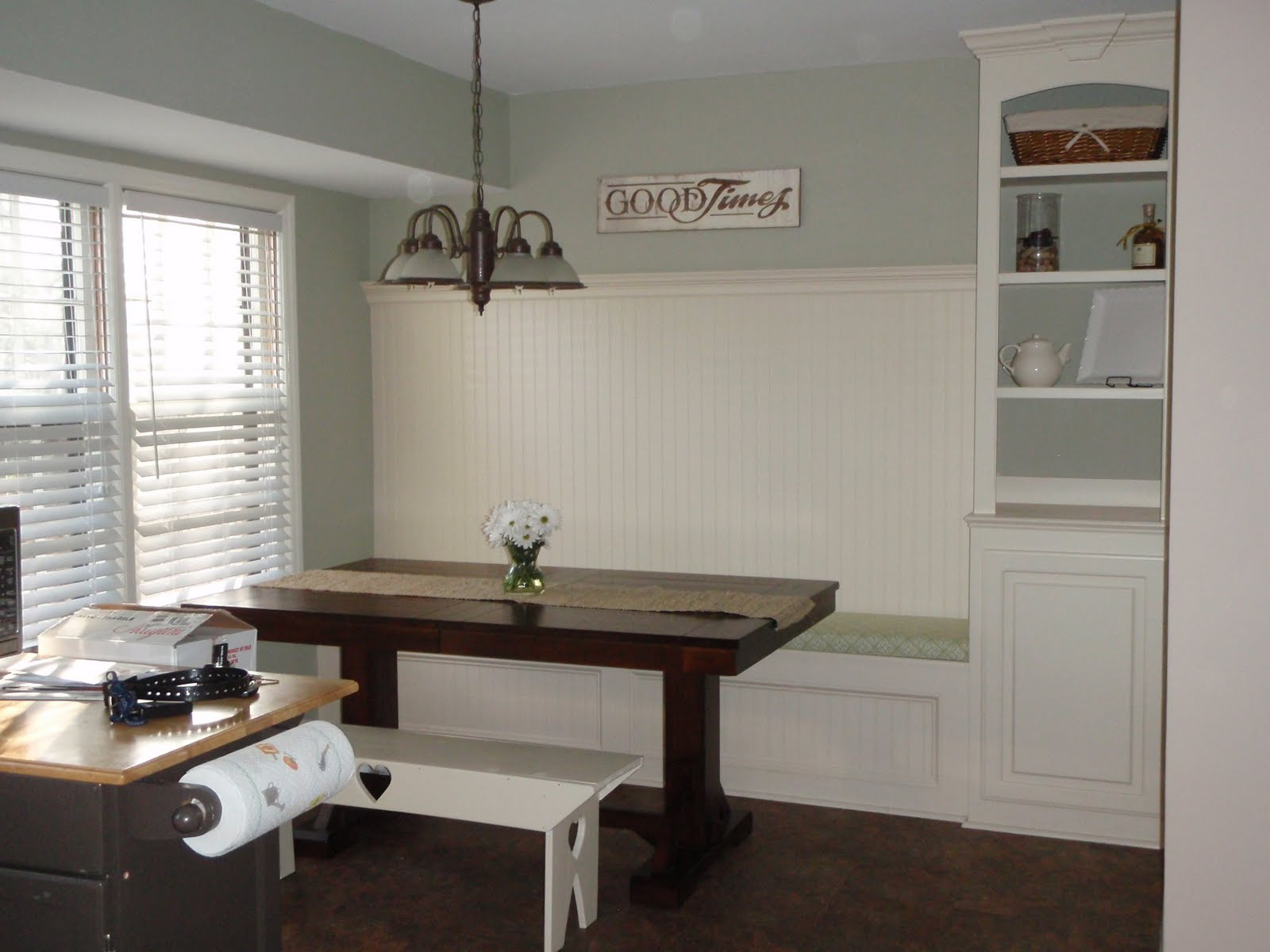 Banquette Bench With Built In Shelf, Featured On Remodelaholic
