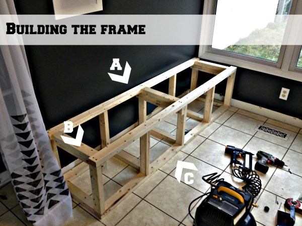 build a corner banquette bench frame first step, Pinterior Designer featured on Remodelaholic