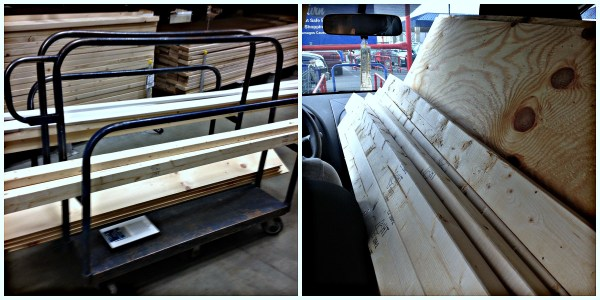 buying lumber for the dining banquette corner bench, Pinterior Designer featured on Remodelaholic