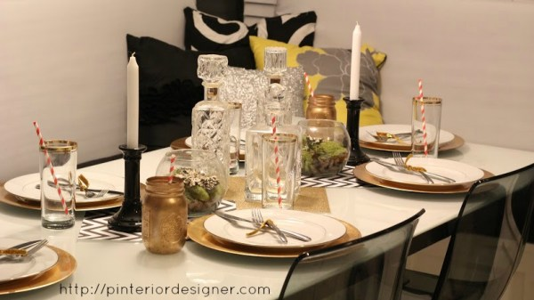 crystal and gold table setting with banquette bench, Pinterior Designer featured on Remodelaholic