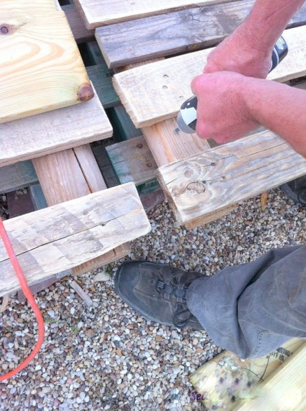deck screws to hold the pallets together, The Second Wind of Texas featured on Remodelaholic