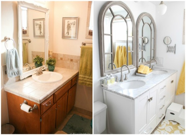 double sink bathroom vanity before and after @Remodelaholic