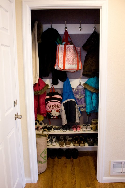 Entry Closet Mudroom Drop Zone Featured On Remodelaholic